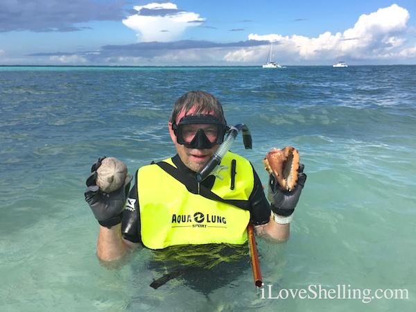 Clark Rambo with shells Abaco Bahamas