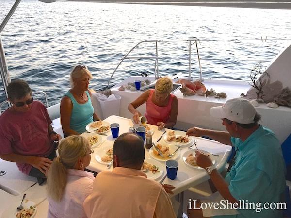 Lobster dinner on Sunsail catamaran, Abaco Bahamas