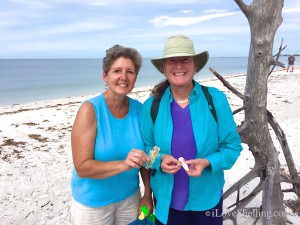 Sue and Andrea from CT finds shells on i Love Shelling cruise