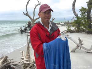 Captain Skip saving a sandwich tern on the beach