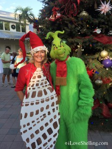 Captiva parade judge Pam Rambo ShellElf with Grinch