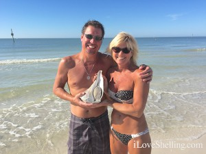Dave Susie find huge live Whelk Clearwater Beach Florida