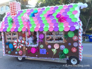 Ginger bread golf cart in Captiva parade Bubble Room