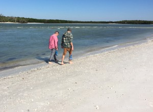 dennis and jesse collecting seashells