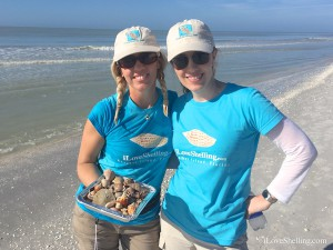 Christy and Janet sporting iLoveShelling gear and seashells