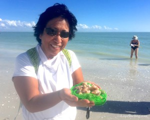 Elaine with seashells in Sanibel Florida