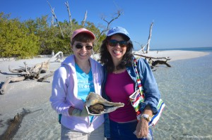 Gail and Melissa with live lightning whelk