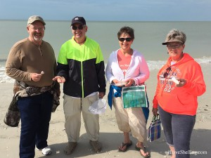 Roger, Charlie, Dawn Jan find seashells in Florida