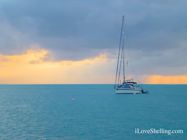 sailboat at sunset in BVIs