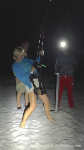 Pam Rambo reels in a 200 pound lemon shark