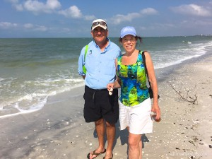Robin Draper and Mike beach combing on shelling cruise