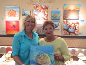 judith with sharks eye shellography art by pam rambo