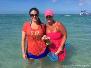 Carrie and Valerie (KY) find shells in clear Cayo Costa water