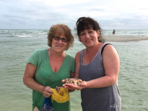 Kathy and Angie visit from PA find shells on Sanibel Florida