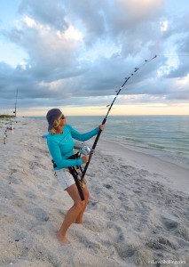 Pam Rambo fishing for sharks on Sanibel Island