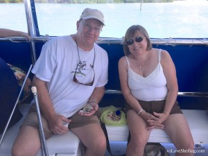 Tim, Mary find shells on salty sms cruise