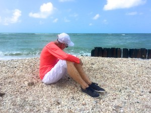 mom on a sanibel shell pile