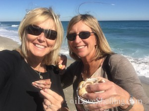 Pam and Diane with seashells in Jupiter Florida shelling