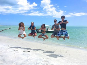 Rotary exchange students having fun on Cayo Costa Florida beach