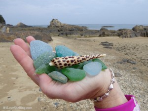 Collecting beach glass and seashells in Okinawa Japan