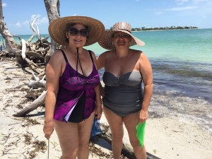 Jeanne and Karen from Clearwater Florida collect shells in Cayo Costa