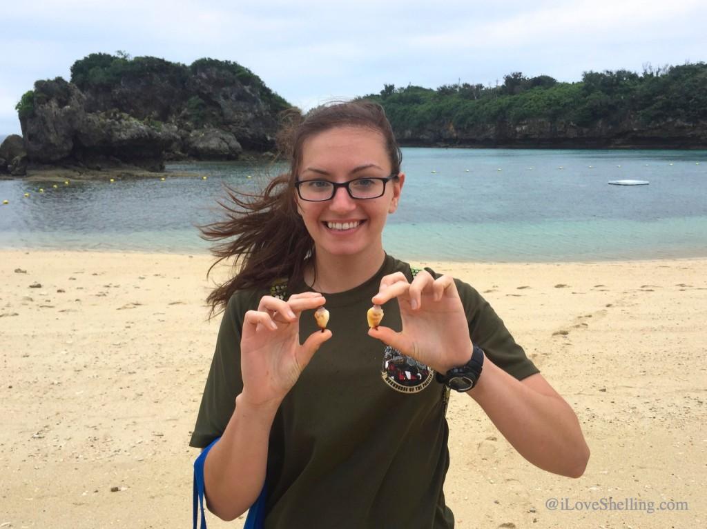 United States Marine Clarissa in Okinawa Japan finding seashells