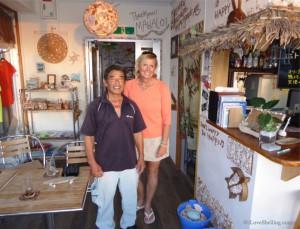 pam rambo with Manahu Higa owner of Island Marine Cafe Okinawa