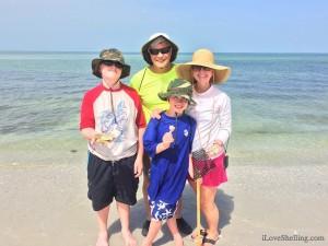 Nathan, Chris, Matthew and Sarah KY beachcombing Florida