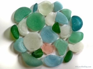 Pink Aqua Turquoise Green Sea glass bottle bottoms