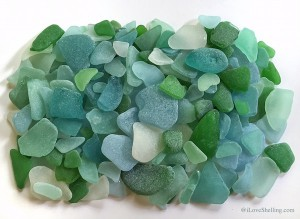Sea glass shards in green, blue, turquoise, aqua, jade, teal