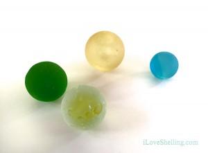 Seaglass sea marbles green, aqua, golden and yellow