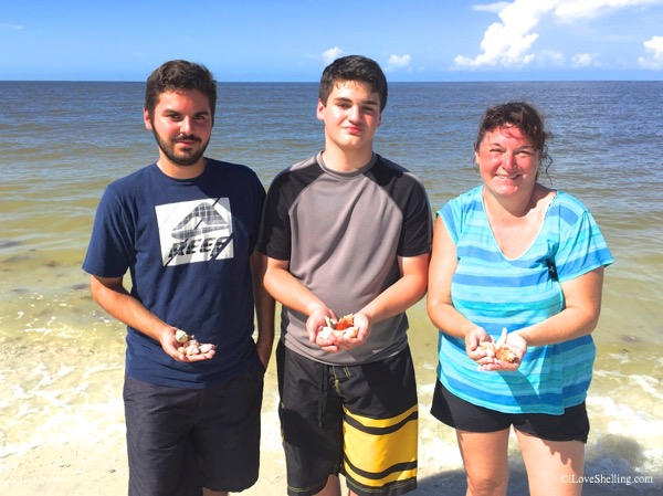 Brandon, Jacob and Robin NJ beachcombing Florida