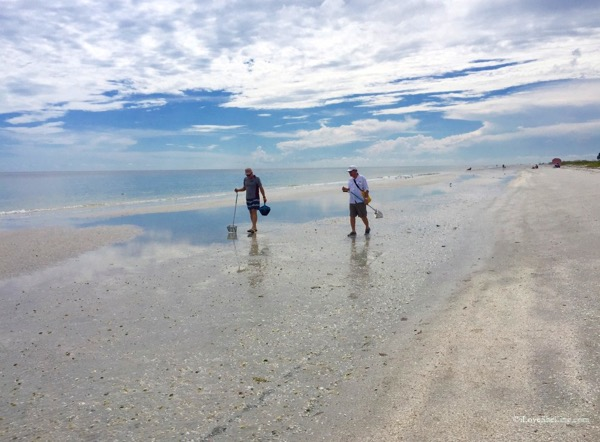The boys beach combing low tide Sanibel