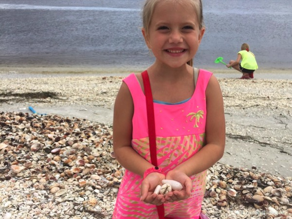 Girl finds gifts from the sea on the beach of Cayo Costa