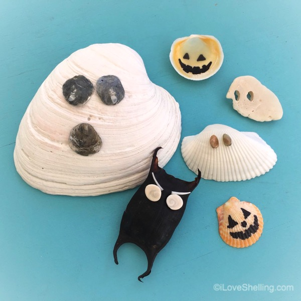 seashell ghosts, goblins and jack o lanterns
