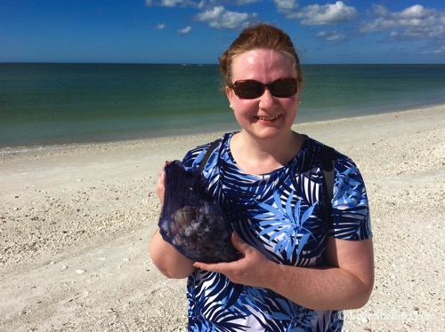 Penny from England find shells visiting Florida