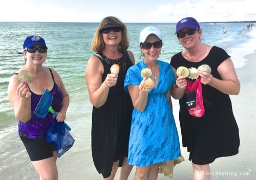 Sharon, Gina, Sue, Barb Kansas City with sand dollars on Cayo Costa Florida