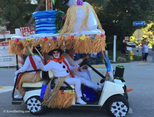 beggs snowman captiva golf cart parade