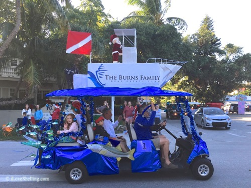 burns under santas boat captiva golf cart parade