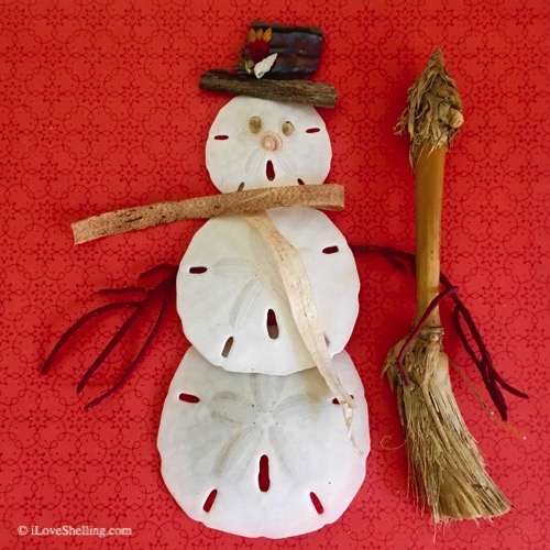 frosty sand dollar man christmas sea shell art