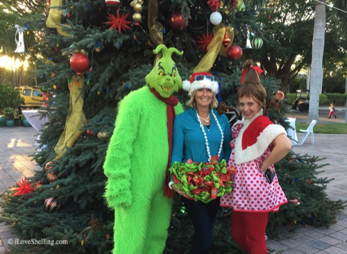 grinch, cindy loohoo and pam rambo golf cart parade judge
