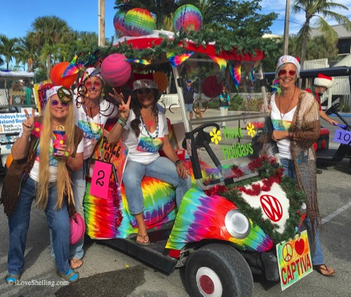 hippy holiday girls golf cart parade