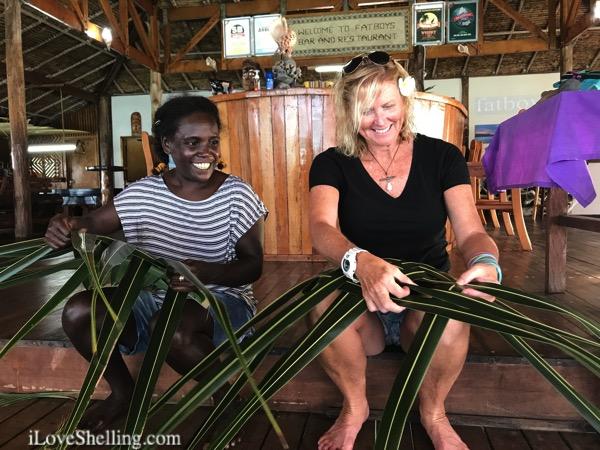 palm frond basket weaving solomon islands